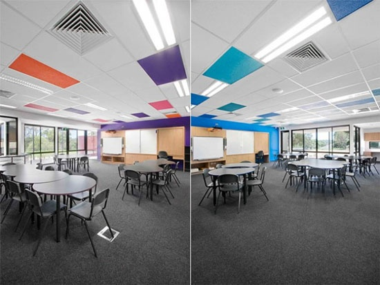 Colored ceiling tiles: except have the kids in art classes or wherever make the tiles with a specific subject. This can be anywhere, or in a specific place like the cafeteria.