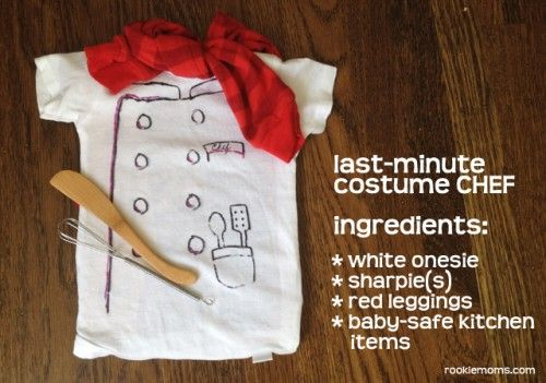 Remember how when you sorta grew out of Halloween, there were still times when you were able to throw together a costume with items you had on hand, because at the last minute someone would convince you to dress up? This can work for a baby or toddler costume, too. The one above was inspired …