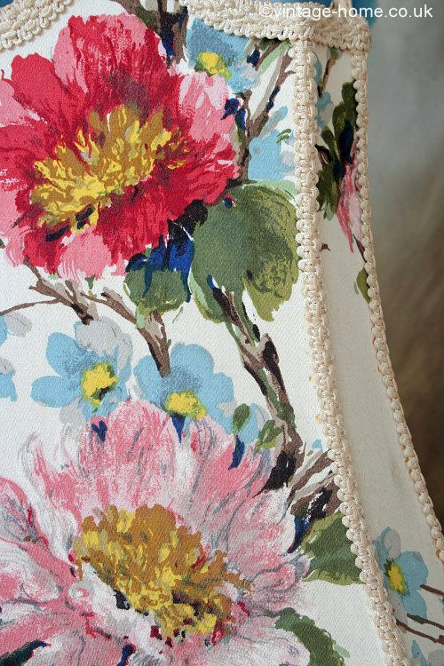 Vintage Home - Stunning Standard Lamp Shade with Hand Painted Florals:  www.vintage-