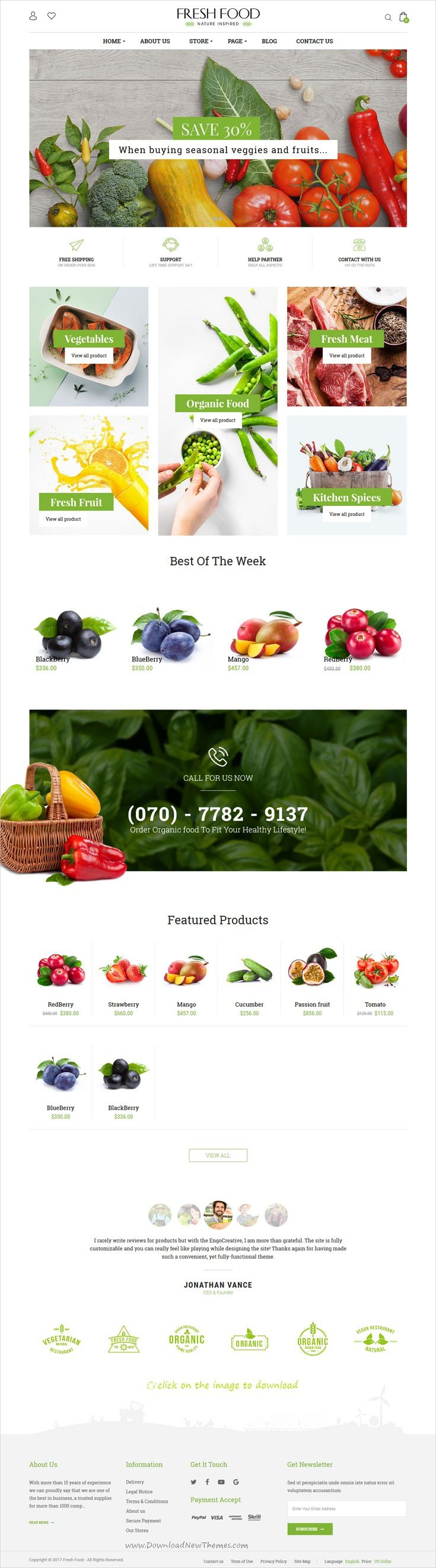 Fresh Food is clean and modern design 4in1 responsive #ZenCart template for organic food, fruit and #vegetables shop #eCommerce website to download 👉click on image.