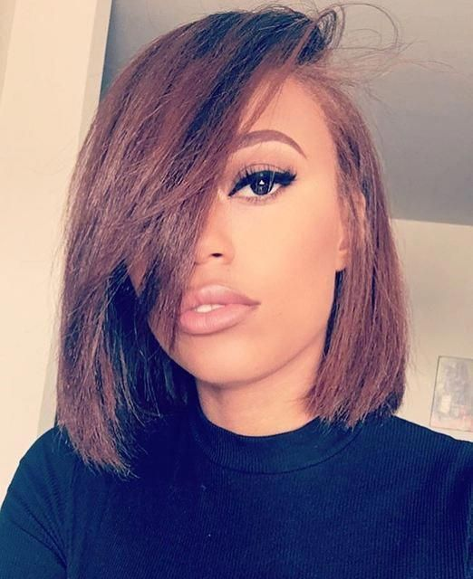12″ Side Bangs Bob Wigs For African American Women The Same As The Hairstyle In Picture – Human Hair Wigs For Black Women #bobblackhairstyles