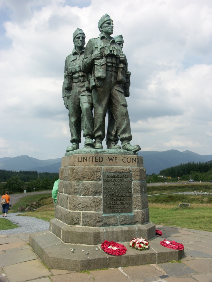 Memorial erected at Spean Bridge, Scotland. This is where thousands of Allied Commandos  trained during the Second World War.