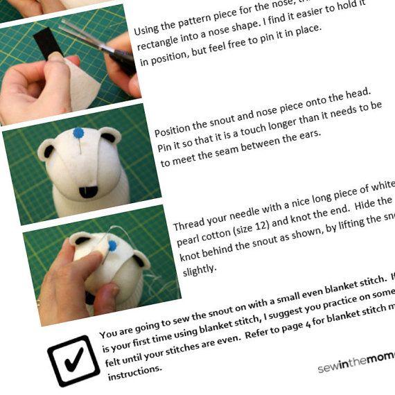 Sock Doll Polar Bear wearing a Headband Pattern PDF instant