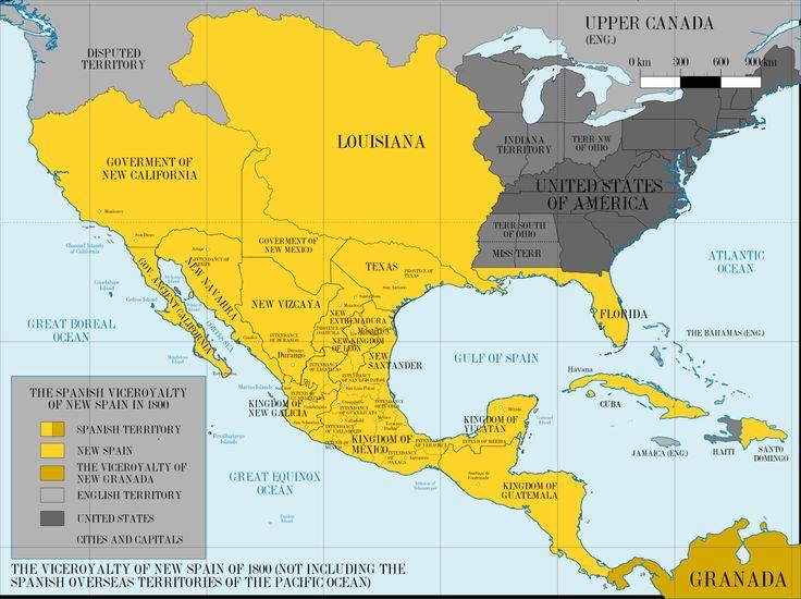 Mapa del Virreinato de la Nueva España, versión 2 (not including the island territories of the Pacific Ocean). | Muestra la división territorial por reinos y provincias; y menciona algo de las intendencias.