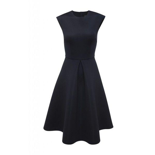 AX Paris Sleeveless Midi Skater Dress (€49) ❤ liked on Polyvore featuring dresses, navy, women, navy blue skater dress, ax paris, sleeveless skater dress, midi skater dress and mid calf dresses
