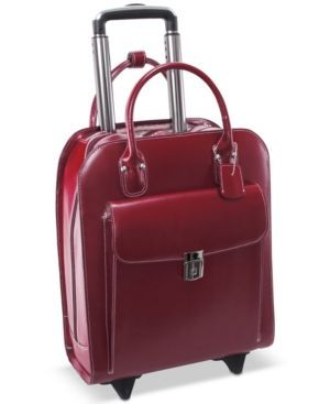 From a typically busy day to a quick business trip, the wheeled maneuverability of McKlein's laptop briefcase helps ease your way. The leather bag includes a telescoping handle that speeds you along,