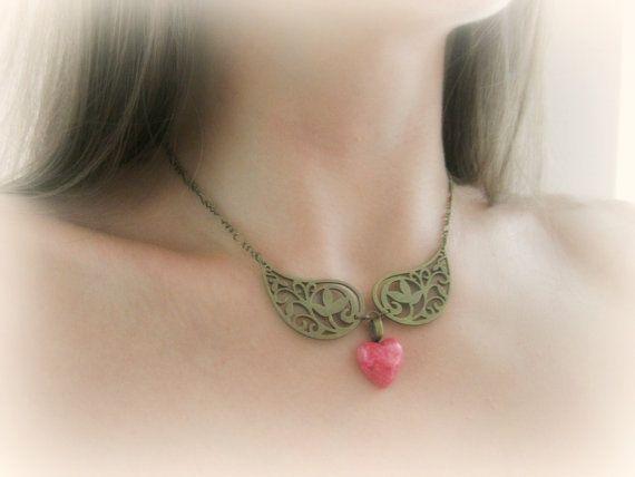 Rhodochrosite gemstone heart choker necklace by MalinaCapricciosa