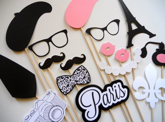 Paris Photo Booth Props . Parisian Photo Booth Props . Photo Booth Props . Paris . Parisian . Glitter . Set of 16