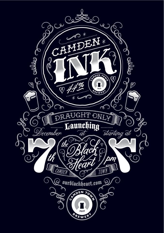 camden ink: Black Heart, Ink Launch, Launch Party, Typography Posters, Graphics Design, Tenfold Collection, Launch Parties, Design Elements, Camden Ink