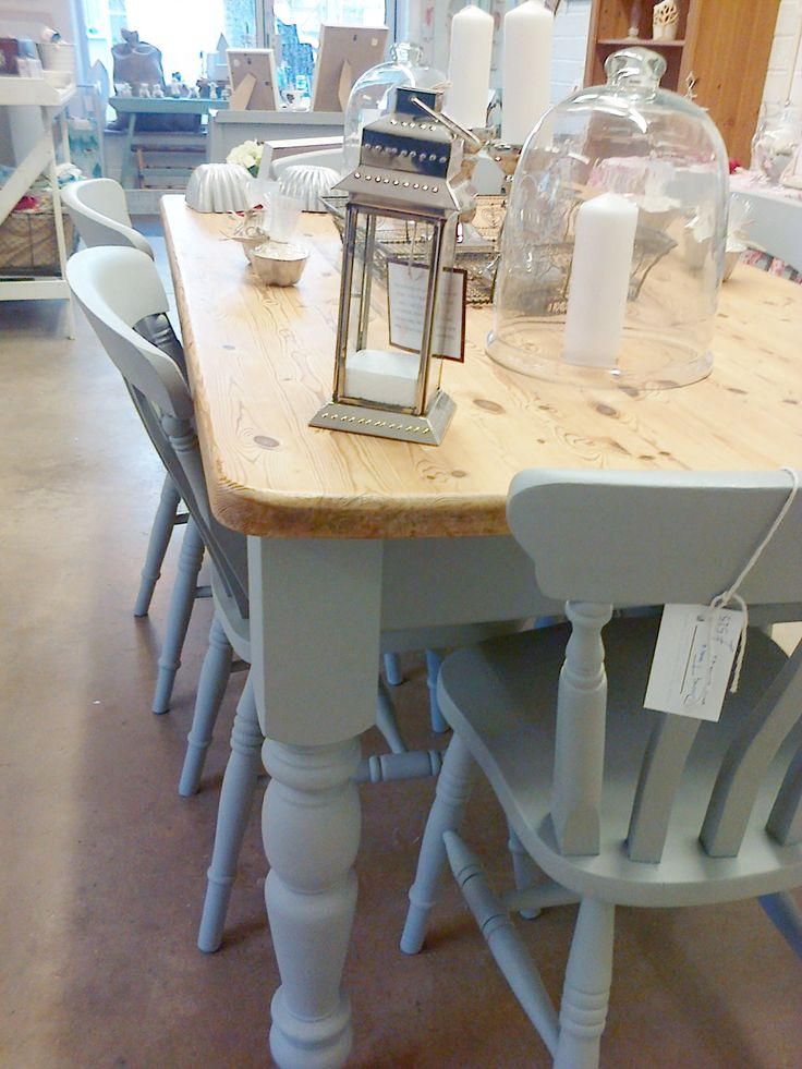 Hand painted farmhouse table and chairs.  Custom order.