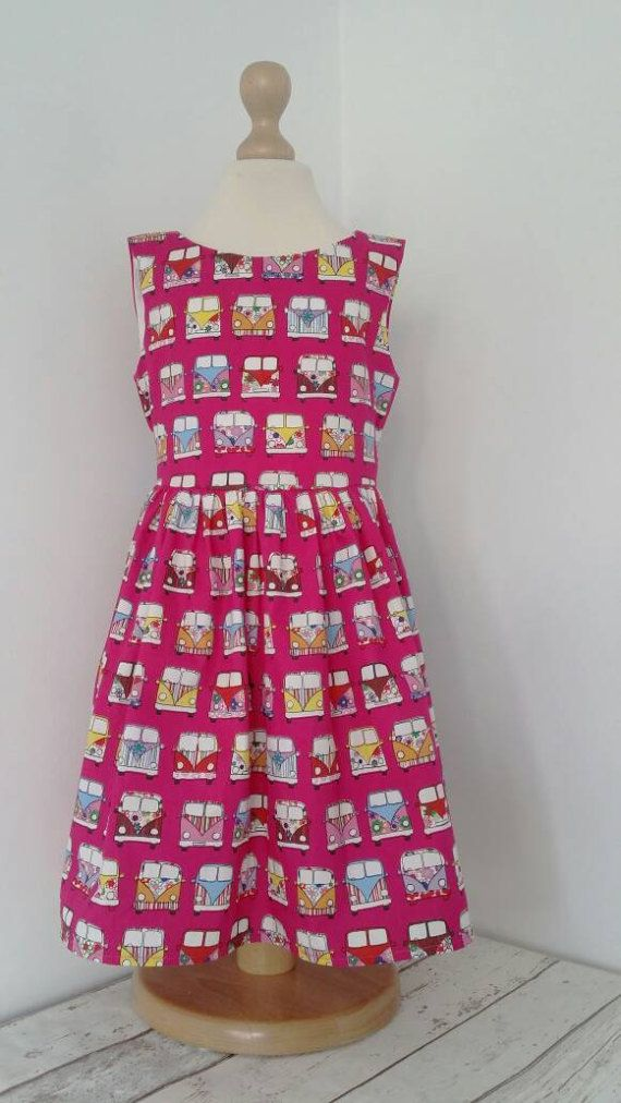 Check out this item in my Etsy shop https://www.etsy.com/uk/listing/500356564/girls-pink-dress-campervan-rainbow