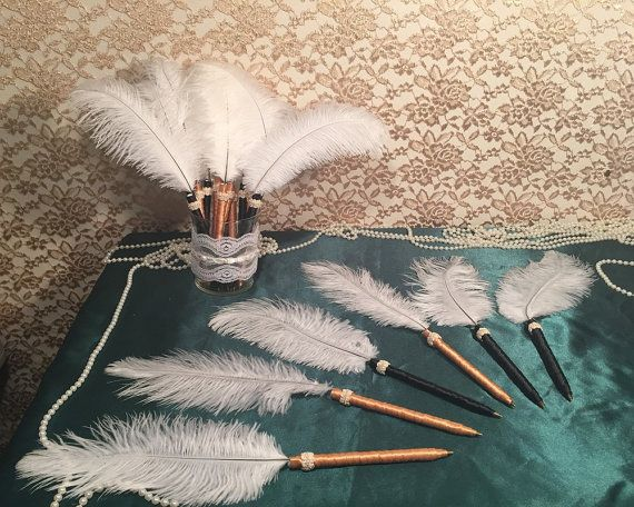 6 Great Gatsby Wedding Party Favors  FEATHER PEN by TheENDboutique