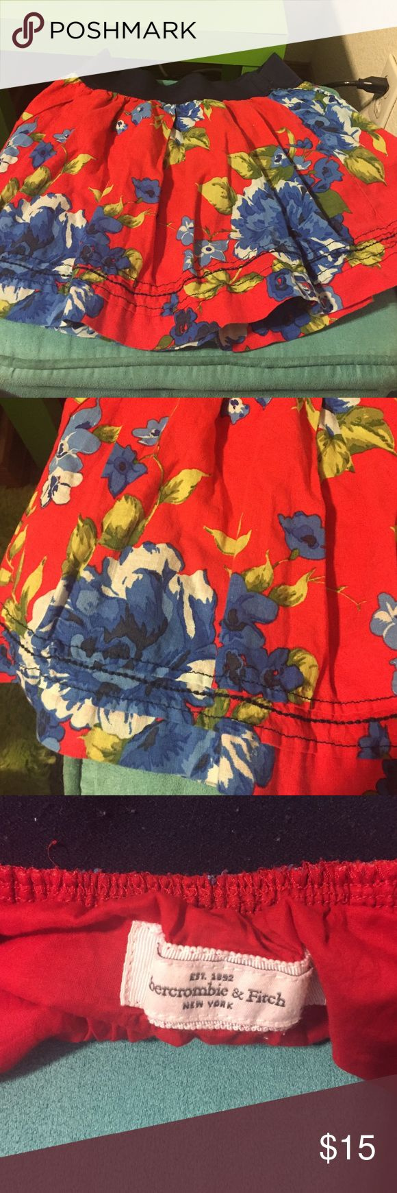Abercrombie and Fitch skirt Great condition! Red with blue flowers Abercrombie and Fitch skirt Abercrombie & Fitch Skirts