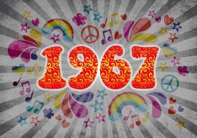 Bald fünfzig werden? Coole Einladungskarte mit großer Zahl 1967 in typischem Sixties-Look   #1967 #50