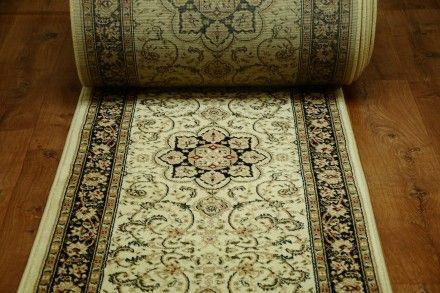 Chodnik tradycyjny classic kwiaty Krem 80cm. Klasyczny dywan w tradycyjne wzory w kolorze beżowym.