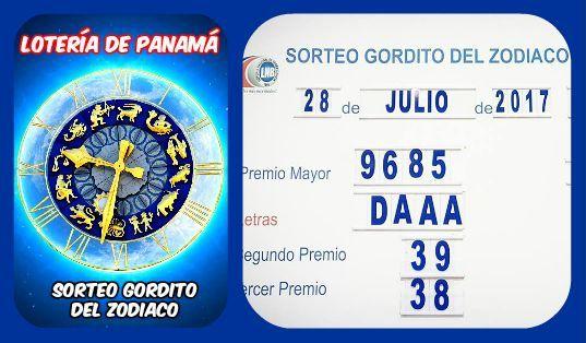 #GorditodelZodiaco resultados Viernes 28/7/2017. Lotería Nacional de Panamá