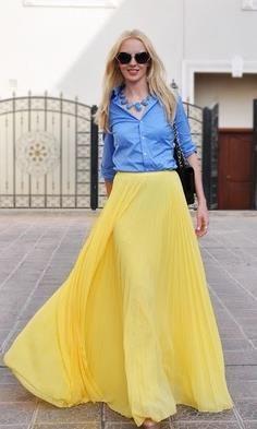 Желтая юбка в пол с чем носить