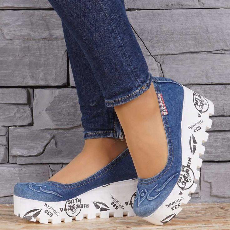 Pantofi dama din blugi cu platforma EMANI 8777