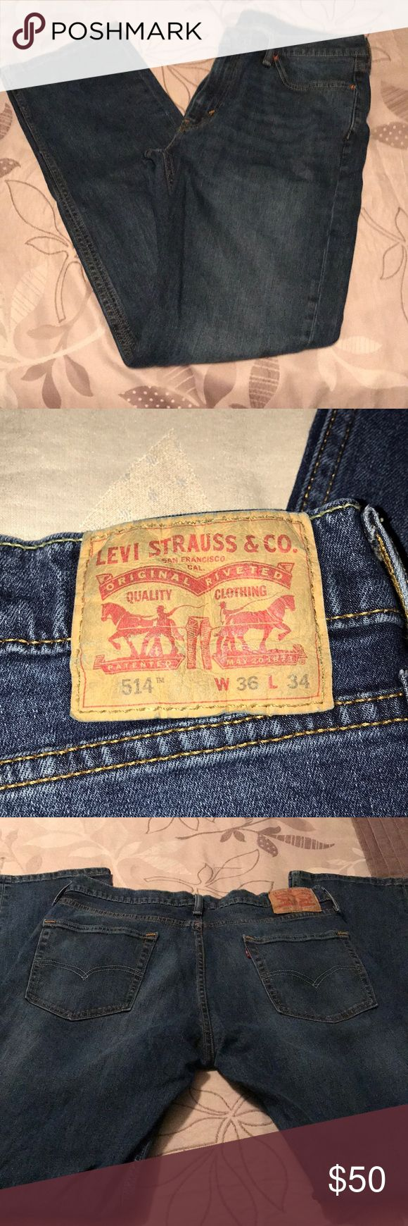 """Men's Levi's 514 Jeans 36/34 Like New Levi's 514 Jeans Straight Leg Zipper fly 36"""" waist 34"""" inseam These are like new.  No rips or stains. From my smoke free home. Levi's Jeans Straight"""