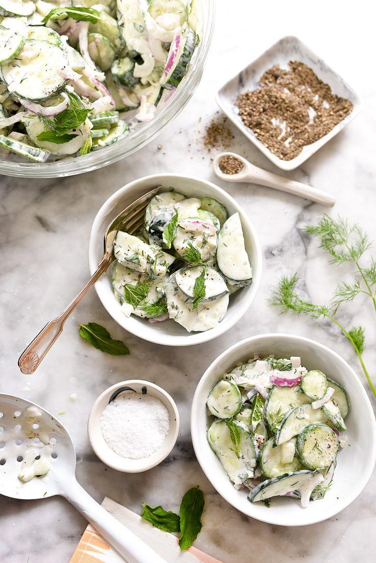 Creamy Yogurt Cucumber Salad Recipe on foodiecrush.com