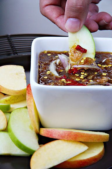 Sweet, salty and hot Thai dipping sauce for firm, sour fruit.  From She Simmers.  Perfect for apple season although probably even better for late summer apple season, when the apples are really tart.  Tried this weekend-is definitely pungent and unfamiliar. Next time would use less shrimp paste/dried shrimp.