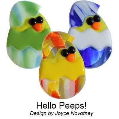 Easter Chick project made with Beak and Eye Fusible Pre-Cut 3 Pack - 96 COE from Delphi Glass. Artist: Joyce Novotney.