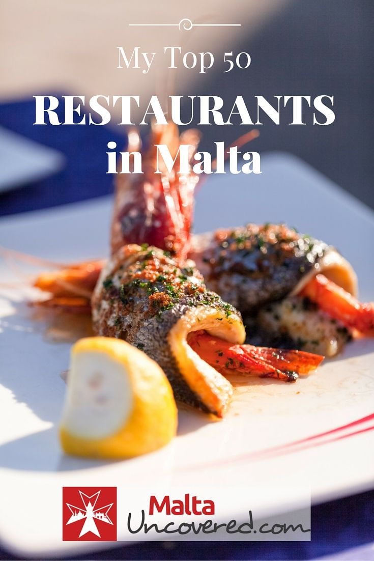 Discover my personal top 50 restaurants in Malta and Gozo, with typical Mediterranean cuisine as well as Maltese food: http://www.maltauncovered.com/travel-guide/restaurants-guide-eating-out/