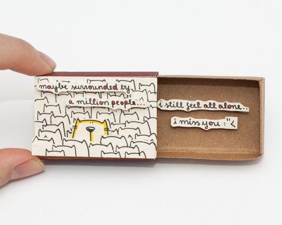 "Cute ""I miss you"" Card Matchbox/ Gift box / Message box"