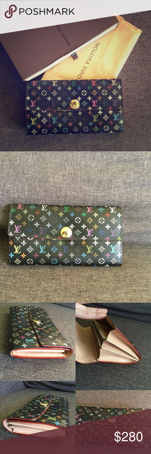 Louis Vuitton Multicolor Wallet Item: Preowned Authentic Louis Vuitton Multicolor Wallet, Made in France TH0096, features: 6 credit card slot, 1 paper, 2 cash slot and zip coin pocket. --Condition: Exterior: scratches, rubbing, peeling of color. Tears on edges. Interior: dirt streak stain, pen mark. NO bad odor. Metals: scratches, discoloration. Seller note to buyers: Item is used therefore expect signs of wear but overall it is in GOOD condition and has NO major issue. The wallet will come…