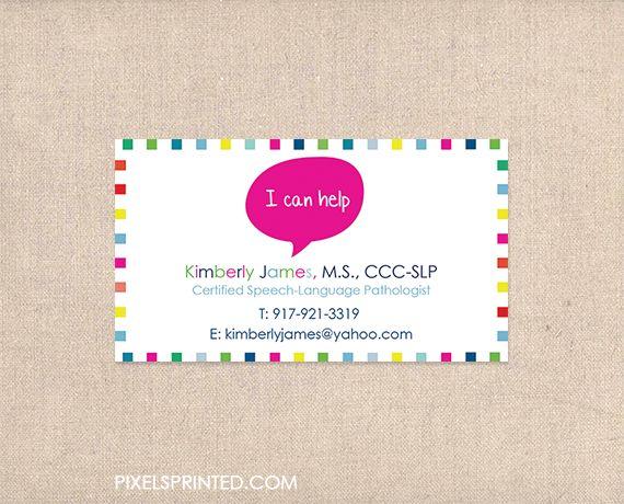speech language pathologist business cards, SLP business cards