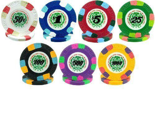 paulson james bond clay poker chips 7 chip sample set by paulson - Clay Poker Chips