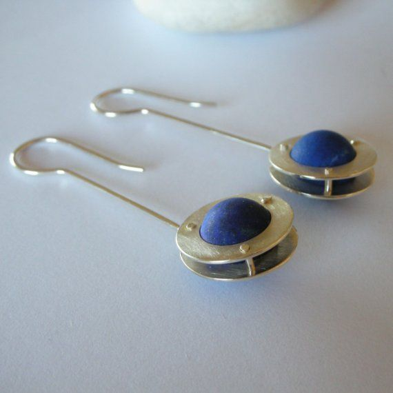 Lapis Lazuli Silver Earrings by parisottodesign on Etsy