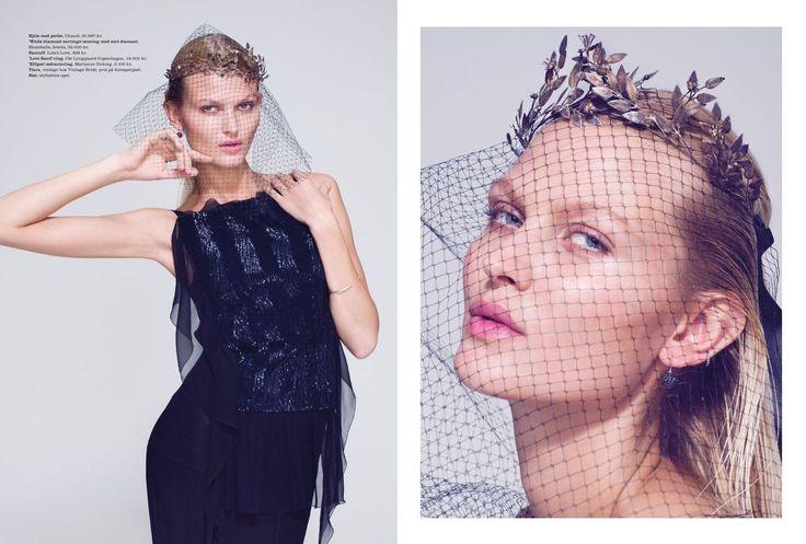 Original vintage headdress @ Maria Fekih featured in ELLE Denmark #marts 2014 beautiful captured by photographer Olivia Frølich