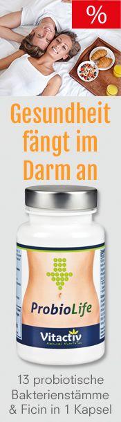 """""""ProbioLife"""" Kapseln sind ein neuartiges und einzigartiges probiotisches Nahrungsergänzungsmittel mit 13 (!) verschiedenen Bakterienstämmen plus """"Ficin"""" und Kalzium, das zur normalen Funktion von Verdauungsenzymen beiträgt. ProbioLife enthält mehr als 8 Mrd. """"gute"""" Bakterien, bietet viele Vorteile gegenüber probiotischen Drinks oder Joghurts und ist im Vergleich deutlich günstiger."""