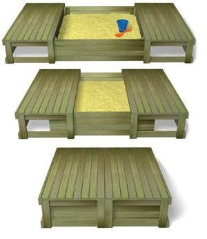 DIY: Sliding Closure Sandbox - Sara, this would fix the problem of the trying to constantly replace the tarps and would provide a seat at child level.