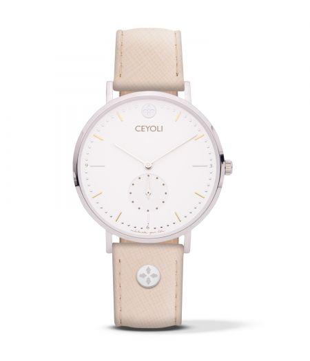 Uhr Celebrate Line White Silver Saffiano Leather Rose CEYOLI ist eine Mission! Die Uhren für Damen in Silber begleiten dich jeden Tag und erinnern dich dein Leben zu feiern.