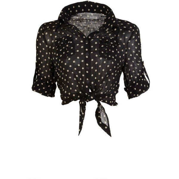 Polka Dot Tie Front Blouse ($35) ❤ liked on Polyvore