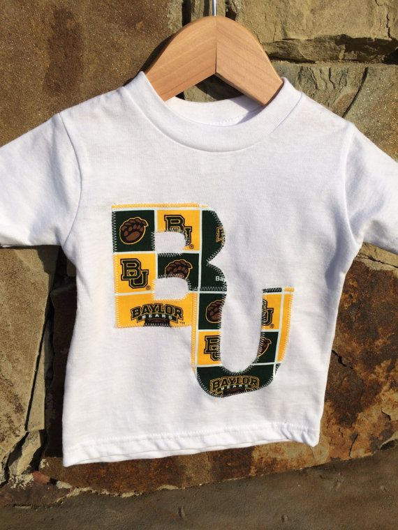 Gender neutral t-shirt, Baylor applique, white shirt on Etsy, $17.50