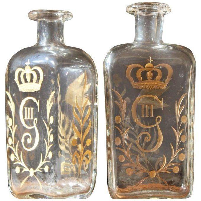 Pair of circa 1800 Swedish Glass Flasks Gilt Decorated for Gustav III 1