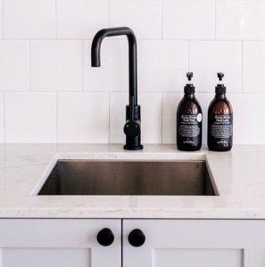 black matte kitchen mixer tap by Meir