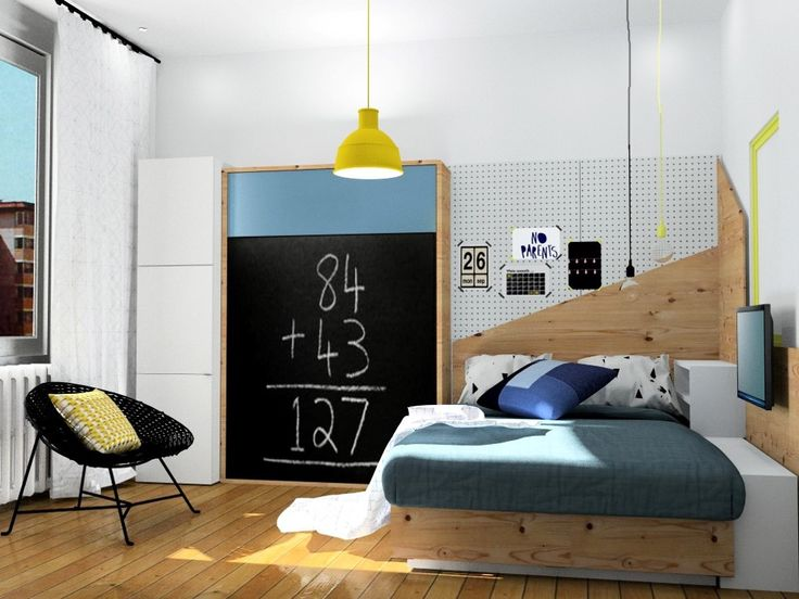 chambre grçon, mobilier Ikea, image virtuelle 3d