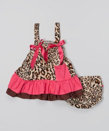 Baby Girl Stuff: Tutu AND Lulu Brown & Hot Pink Leopard Ruffle Top ...