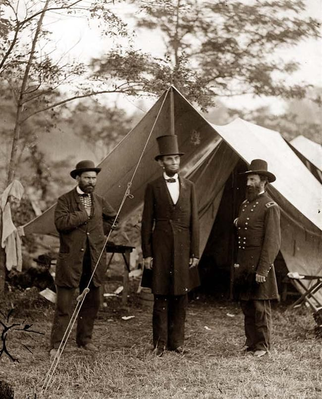 Outstanding quality to this image of President Lincoln visiting camp at Antietam. Allan Pinkerton on the left. General John A. McClernard on the right. Photograph by Lincoln's favorite photographer, Alexander Gardner. (c. 1862).  *s*