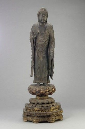 1907: Freer takes his second tour of Asia and makes significant purchases in China and Japan, where he is treated as an internationally renowned collector.   Amitabha; Japan, Kamakura period, 13th century; wood; Gift of Charles Lang Freer; F1907.111a–b