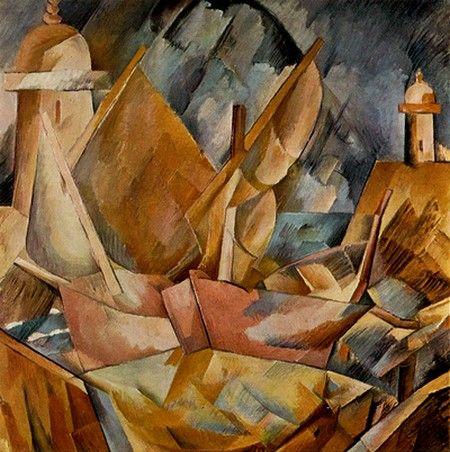"""GEORGES BRAQUE - """"Port en Normandie"""" (1909)  Huile sur toile (80 x 80)"""