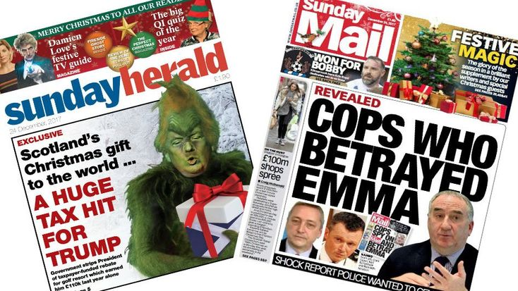 Image copyright Sunday HeraldImage copyright Sunday MailImage copyright The Sunday TimesImage copyright Sunday PostImage copyright Mail on SundayImage copyright Scottish Sun on SundayImage copyright Scotland on SundayAn image of Donald Trump mocked up as The Grinch features on the front page of the Sunday Herald, alongside claims that the Scottish government has stripped the US president's Ayrshir
