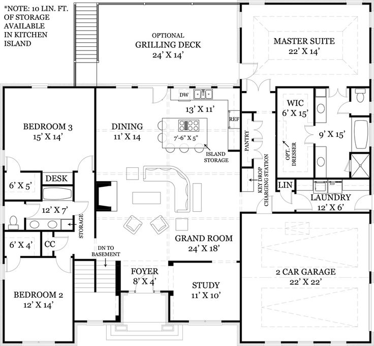 I like the foyer-study-open concept great room and kitchen portion of this floor plan and how the stairs are out of the way...but would move kid bedrooms upstairs and turn that space into a media room and office/playroom.