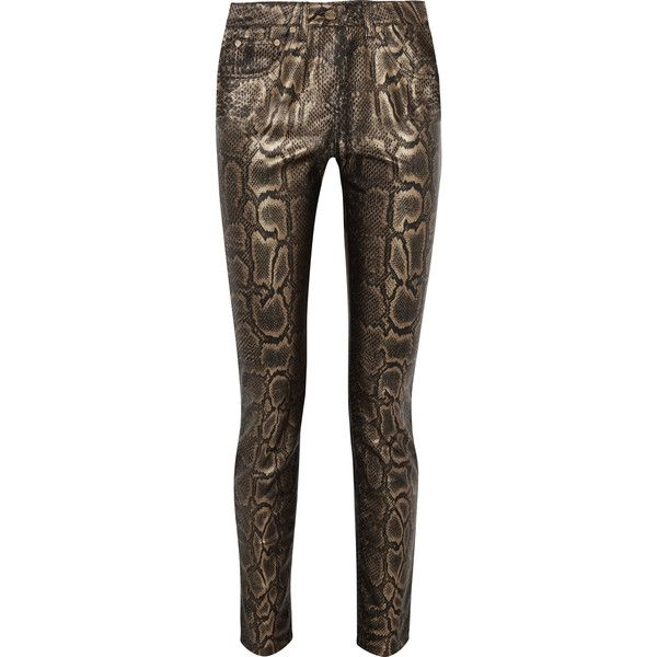 Roberto Cavalli - Snake-effect Faux Leather Skinny Pants ($275) ❤ liked on Polyvore featuring pants, gold, brown faux leather pants, vegan leather pants, brown trousers, faux-leather pants and leather look pants
