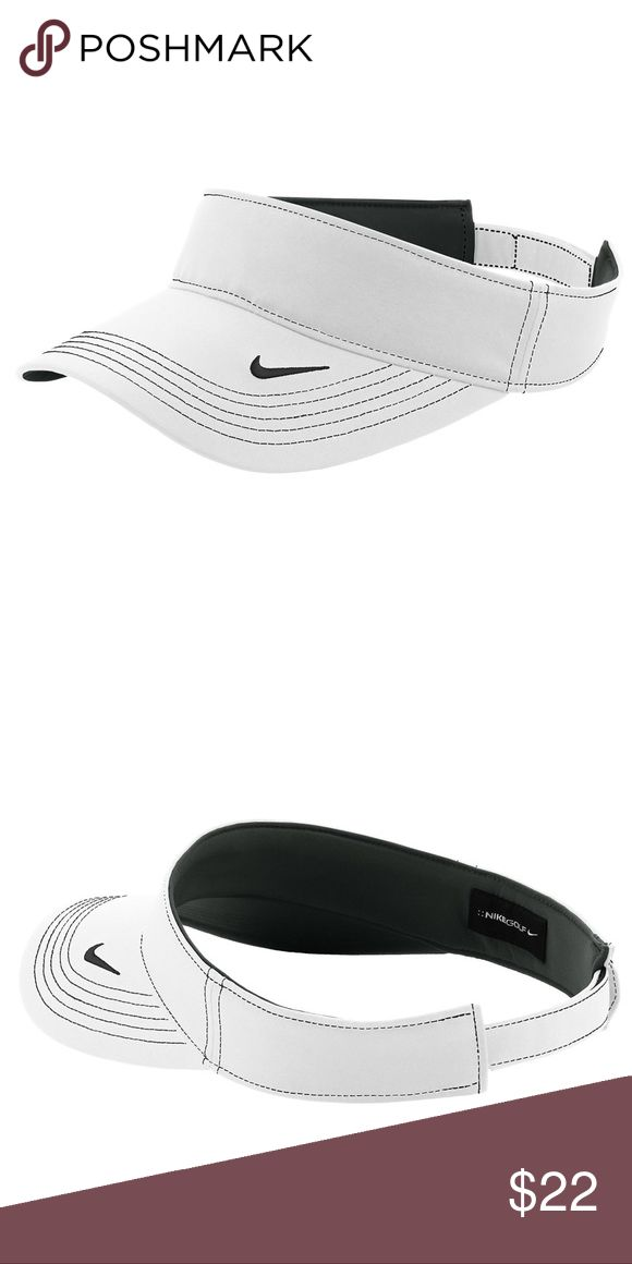 Unisex Nike Golf Visor A high-performance, three-panel visor built with Dri-FIT moisture management technology. Contrast stitching adds interest, while the hook and loop closure ensures a custom fit. The contrast Swoosh design trademark is embroidered on the bill. Nike Accessories Hats