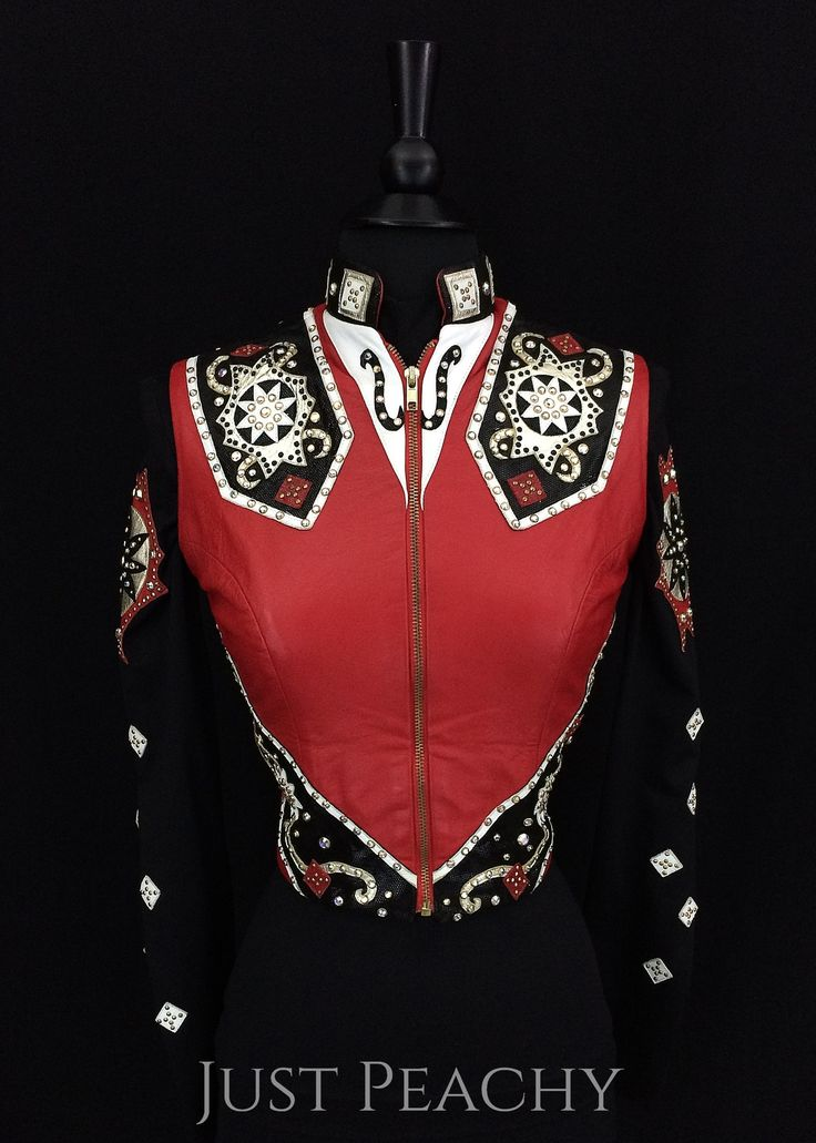 Red Leather Horse Show Vest Set by Showtime ~ Ladies XS
